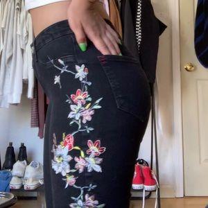 floral black high rise skinny jeans/jeggings